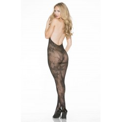 STRETCH LACE OPEN FRONT BODYSTOCKING BLACK