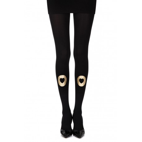 "Zohara ""Into My Heart"" Black Print Tights"