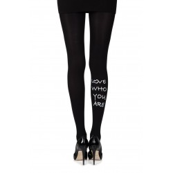 "Zohara ""Love Who U R"" Black Print Tights"