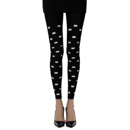 "Zohara ""Super Hero"" Black Print Footless Tights"