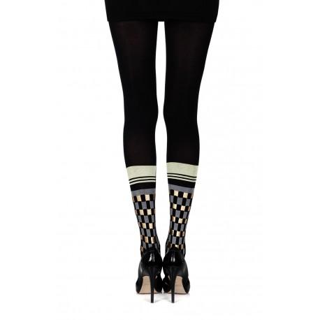 """Zohara """"Happy Socks"""" Black Print Tights"""