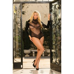 STRETCH MESH AND LACE LONG SLEEVE TEDDY