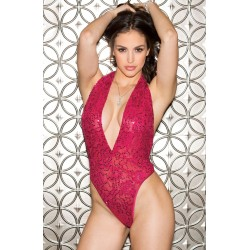 SPARKLING SEQUIN STRETCH LACE TEDDY MAGENTA