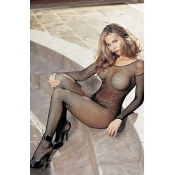 SEXY FISHNET OPEN FRONT BODYSTOCKING WITH A SCOOP NECK