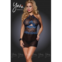 Very alluring and hot floral lace black and blue chemise