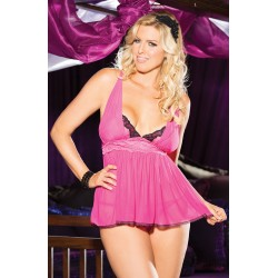 MESH AND LACE BABYDOLL WITH BUILT UP SHIRRED PANELS