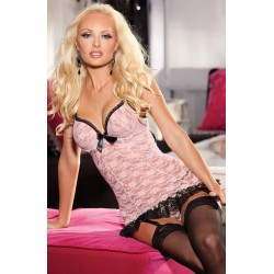 STRETCH LACE CHEMISE WITH PADDED PUSH-UP