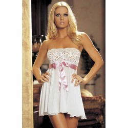 WHITE BEAUTIFUL STRAPLESS BABYDOLL WITH FLORAL LACE TOP