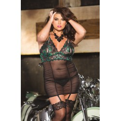 TWO-TONE STRETCH LACE GARTERED CHEMISE