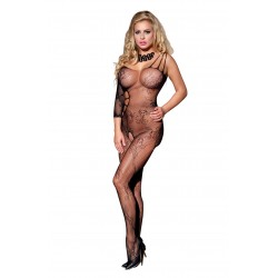 SINGLE SLEEVE FLORAL CROTCHLESS BODYSTOCKING