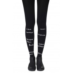 BLACK TIGHTS WITH WHITE PRINT