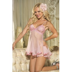 GORGEOUS CHOPPER BAR LACE AND NET BABYDOLL  PINK