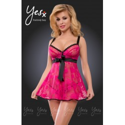PINK FLORAL LACE BABYDOLL WITH UNDER-WIRED BRA