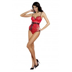 PIECE FLORAL RED LACE TEDDY WITH RIBBON BELT