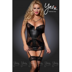 THREE PIECES FLORAL LACE AND VINYL CHEMISE