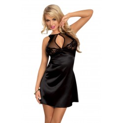 BLACK LACE AND SATIN NIGHTDRESS