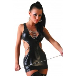 SUPERB QUALITY BLACK FANTASY DRESS WITH METAL CHAINS