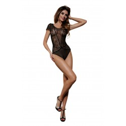 ONE PIECE BLACK LACE AND MESH TEDDY