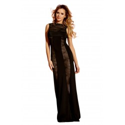 SLINKY BLACK GOWN WITH SHEER LACE DETAILS